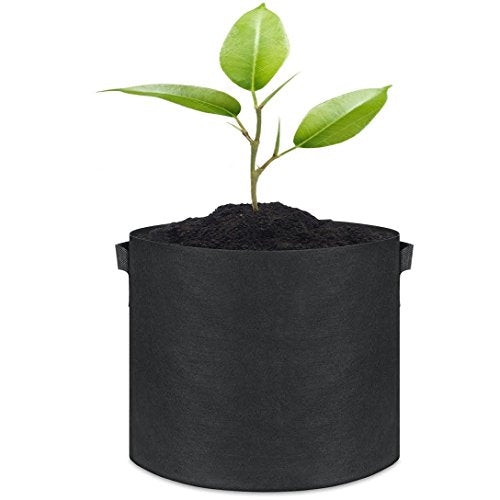 Grow Bags, Root Pouch, 5-Pack 10 Gallon Plantmate Flower Plant Hydroponic Fabric Pot Container With Handles (Black)