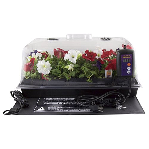 Apollo Horticulture Premium Germination Seedling Seed Starter Kit w/ Humidity Dome, Digital Thermostat and Heat Mat
