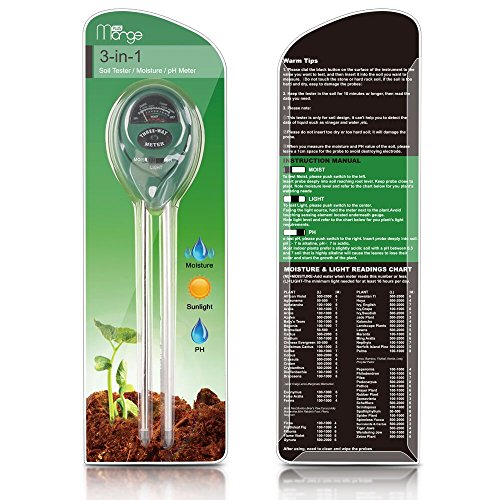 Marge Plus Soil Moisture Meter, 3 In 1 Soil Test Kit Gardening Tools For PH, Light & Moisture, Plant Tester For Home, Farm, Lawn, Indoor & Outdoor