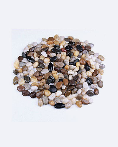 5 Pounds River Rocks, Pebbles, Garden Outdoor Decorative Stones, Natural Polished Mixed Color Stones