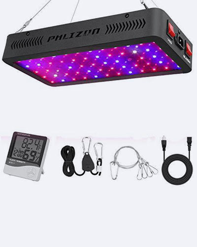 Phlizon Newest 600W LED Plant Grow Light, With Thermometer Humidity Monitor, With Adjustable Rope, Full Spectrum Double Switch Plant Light For Indoor Plants Veg And Flower