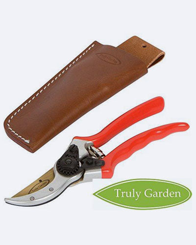 "Truly Garden Pruning Shears - 8"" Premium Titanium Bypass Pruning Shears With Leather Case, Aluminum With Coated Handle For Easy Grip, Hand Pruners, Tree Trimmer, Garden Clippers, Flower Cutter"