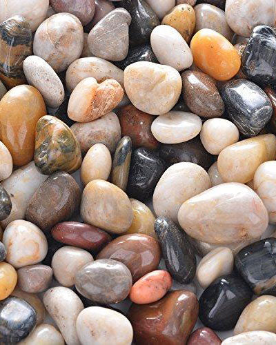OUPENG Pebbles 2 Pounds Polished Gravel, Natural Polished Mixed Color Stones, Small Decorative River Rock Stones
