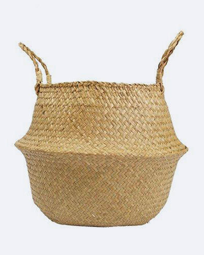 RISEON Natural Seagrass Belly Basket Plant Pot