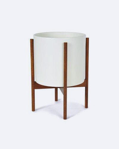 Modernica Ceramic Planter With Wood Stand