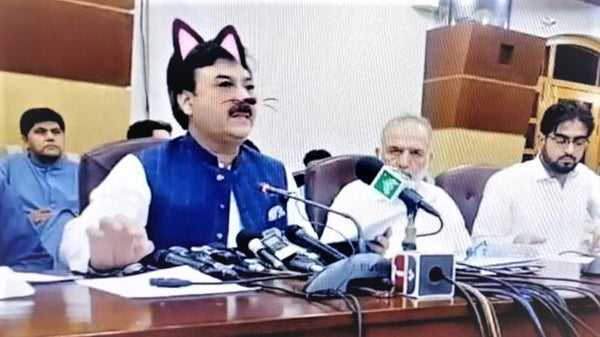 Cat-Filter During Pakistani Minister Press Conference
