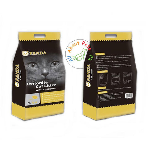 Panda Bentonite Cat Litter with Charcoal -Lemon, Coffee & Lavender Scents 5L