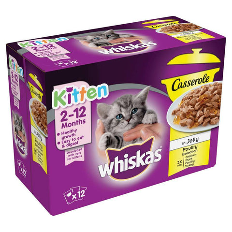 Image of Whiskas Casserole Poultry Selection in Jelly Kitten Food 85g, with chieken, duck, poultry and turkey flavours available at allaboutpets.pk in pakistan