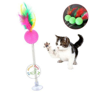 Feather Spring Ball Teaser Tumbler Interactive Cat Toy available at allaboutpets.pk in Pakistan