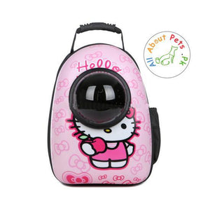 Pet Travel Bag Capsule Carrier Backpack hello kitty available at allaboutpet.pk in Pakistan