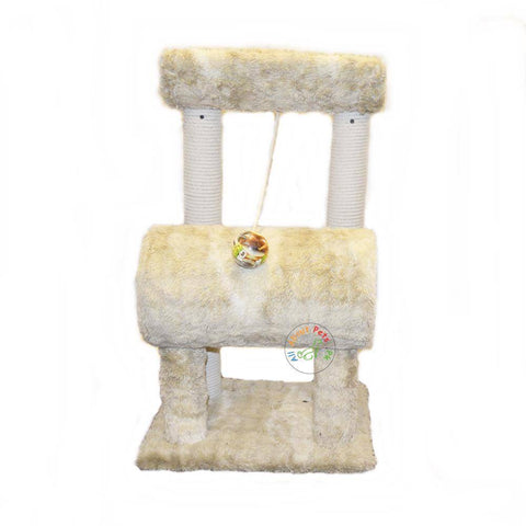 Image of plush beige cat tree with round cylinder, 4 Poles & Curve Top available in Pakistan at allaboutpets.pk
