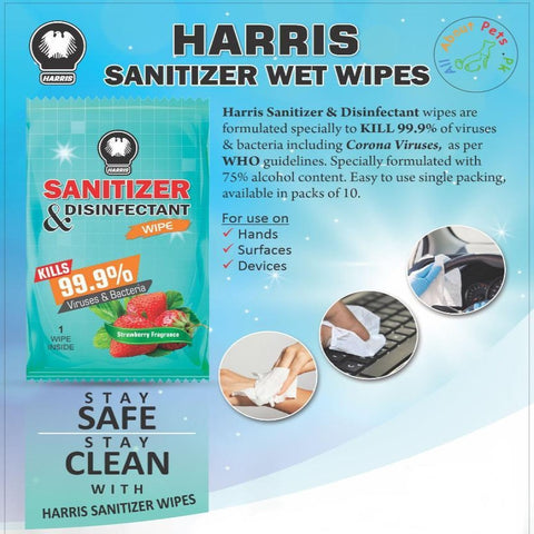 Image of Harris Sanitizer & Disinfectant Wipes pack of 10 available online at allaboutpets.pk in pakistan
