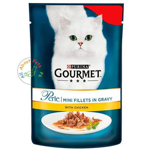 Purina Gourmet Perle Wet Cat Food Mini Fillets in Gravy With Chicken 85g available at allaboutpets.pk in Pakistan