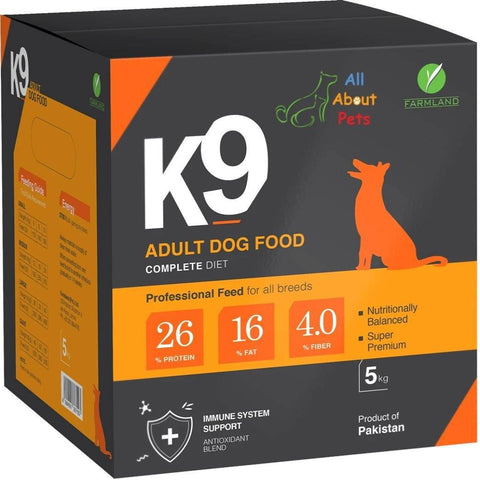Image of K9 Adult Dog Food 5kg ,product of farmland, german shepherd food, rottweiler food, shihtzu food, pug food, Labrador food, available at allaboutpets.pk  in pakistan.
