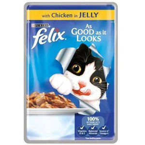 Felix Cat Food Chicken In Jelly 100g, cat wet food, cat jelly food available at allaboutpets.pk in pakistan.