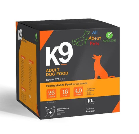 Image of K9 Adult Dog Food 10kg,product of farmland, german shepherd food, rottweiler food, shihtzu food, pug food, Labrador food, available at allaboutpets.pk  in pakistan.