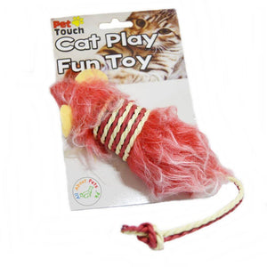 Cat Toy Mouse With Fur & Rope peach color available in Pakistan at allaboutpets.pk