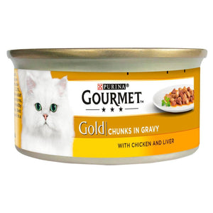 Gourmet Gold Pate Chicken & Liver Chunks In Gravy 85g, cat wet food available at allaboutpets.pk in pakistan.