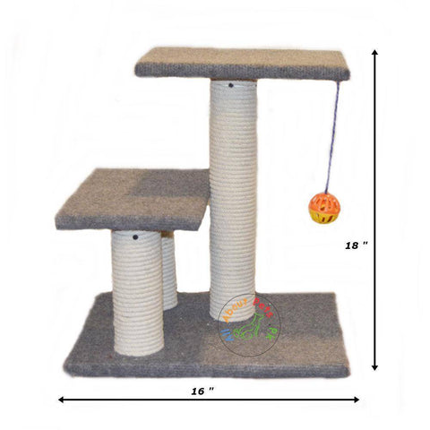Cat scratch post tree with 3 scratch poles, 2 resting tops and a toy ball with bell inside available in Pakistan at allaoutpets.pk