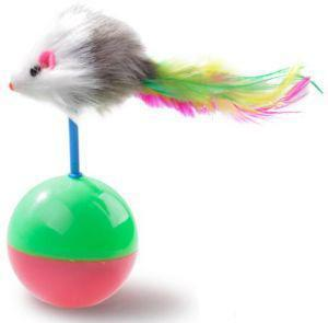 Image of Cat Toy Tumbler Ball With feather Mouse available in pakistan at allaboutpets.pk