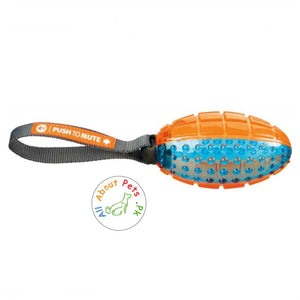 Trixie gigwi Dog Chew Toy Push to Mute Rugby Ball orange and blue color available at allaboutpets.pk in Pakistan