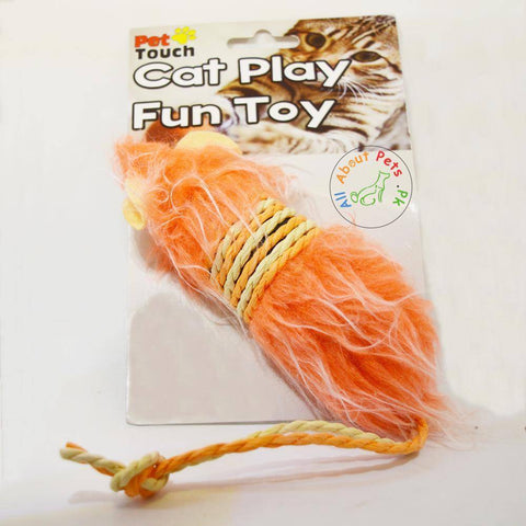 Image of Cat Toy Mouse With Fur & Rope orange color available in Pakistan at allaboutpets.pk