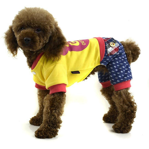 Image of Petsoo England style Cotton printed four-legged winter dog clothes yellow color available at allaboutpets.pk in pakistan