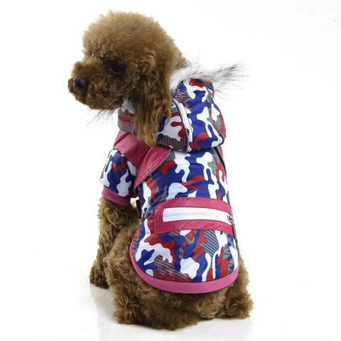 pestsoo Dog Camouflage Winter Clothes water proof red and blue color with Reflective tape zipper decorative available at allaboutpets.pk in pakistan.
