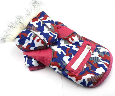 Image of Dog Camouflage Winter Clothes water proof red and blue color with Reflective tape zipper decorative available at allaboutpets.pk in pakistan.