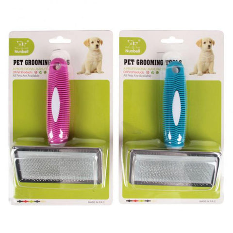Nunbell Slicker Brush for Cats & Dogs blue and green Color, Durable & Soft. Easy grip handle for safe and comfortable grooming.  Removes loose fur & leaves a clean & shiny coat.  Stimulate skin & hair follicles.  Massaging palm brush. Suitable for Dogs & Cats available at allaboutpets.pk in pakistan.