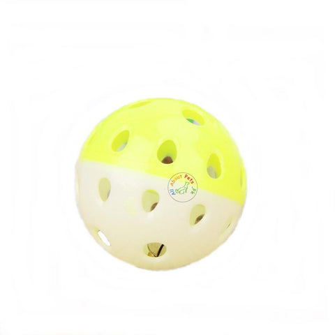 Cat Toy Ball With Bell Interactive Toy yellow at white color available at allaboutpets.pk in Pakistan