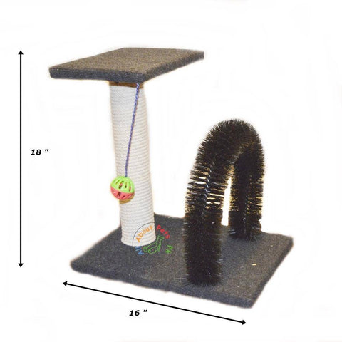 Cat Scratch Post With Arch Groomer Brush, scratch pole and top with toy ball available in pakistan at allaboutpets.pk