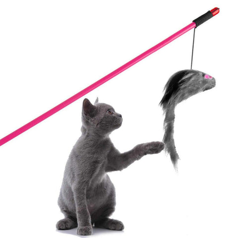 Cat Toys Wand Catcher Interactive Teaser Stick Pet With Mouse grey color available at allaboutpets.pk in pakistan