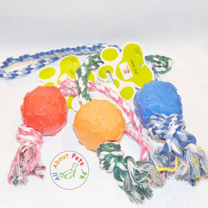 Puppy Teether Rope Toy With red, blue & orange Plastic Balls bone print available at allaboutpets.pk in Pakistan