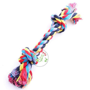 Dog Rope Toy Double Knot, puppy chew toy Multi-color available in Pakistan at allaboutpets.pk