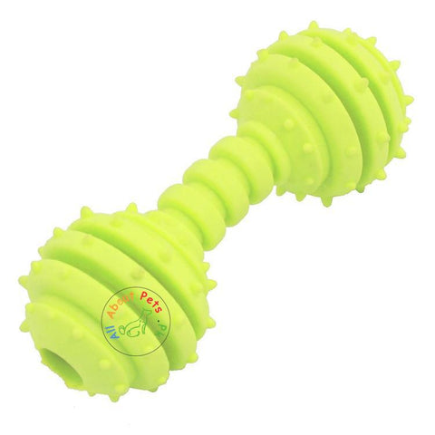 Image of Pet Teether Chew Toy yellow green Small Dumbbell With Bells Inside and dotted available at allaboutpets.pk in Pakistan