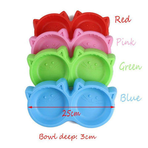 Cat Face Plastic Double Bowl, dog feeding bowl, cat feeding bowl, pet feeding bowl, red feeding bowl, pink feeding bowl, green feeding bowl, blue feeding bowl available at allaboutpets.pk in pakistan.