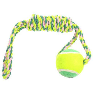 Dog Knotted Rope Toy Spiral Tug with Tennis Ball