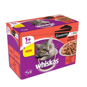 Whiskas 1+ Cat Pouches Casserole Meaty Selection in Jelly 85g available in pakistan at allaboutpets.pk