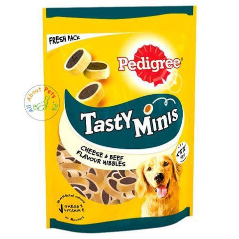 Pedigree Tasty Minis Cheesy Nibbles With Cheese & Beef Dog Treats 140g available at allaboutpets.pk in Pakistan