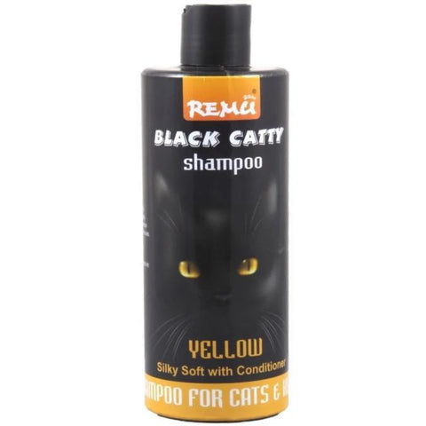 Image of Remu Cat Shampoo Black Catty yellow, Persian cat shampoo available at allaboutpets.pk in pakistan.