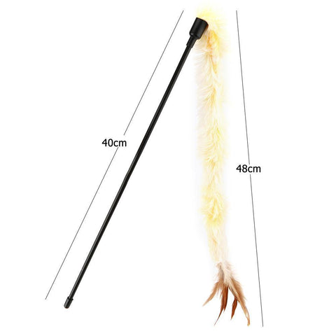 Cat Toy Plush Feather Stick Catcher wand, Interactive Playing Teaser Rod Toy available at allaboutpets.pk in Pakistan