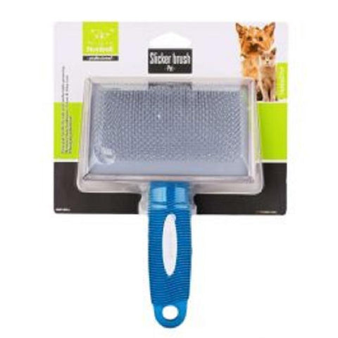 Nunbell Slicker Brush for Cats & Dogs blue Color, Durable & Soft. Easy grip handle for safe and comfortable grooming.  Removes loose fur & leaves a clean & shiny coat.  Stimulate skin & hair follicles.  Massaging palm brush. Suitable for Dogs & Cats available at allaboutpets.pk in pakistan.