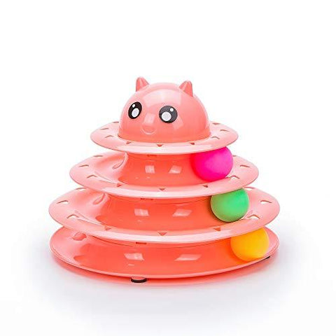 Image of Cat Toy Roller Cat Toys 3 Level Towers Tracks Roller peach color with Three Colorful Ball Interactive Kitten Fun Mental Physical Exercise Puzzle Toys available at allaboutpets.pk in pakistan