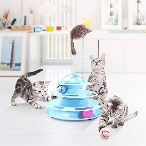 Image of Cat Toys 4 Level Towers Tracks Roller with Balls and Interactive Teaser Mouse,Interactive Kitten Fun Mental Physical Exercise Puzzle Toys available at allaboutpets.pk in pakistan
