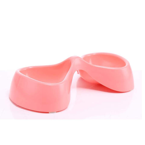 Image of Bow Shaped Double Bowl pink, dog feeding bowl, cat feeding bowl available at  allaboutpets.pk in pakistan.