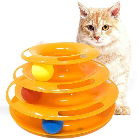 Image of Cat Toy 3-level Tower of Tracks interactive toy orange color available in pakistan at allaboutpets.pk