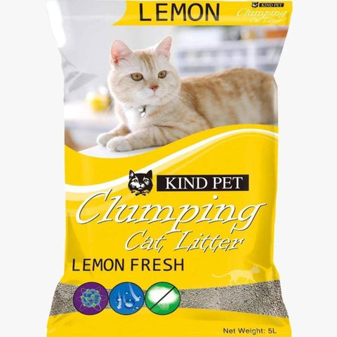 Kind Pet Cat Litter Lemon Scented 5L dust free & easy clumping available at allaoutpets.pk in pakistan.