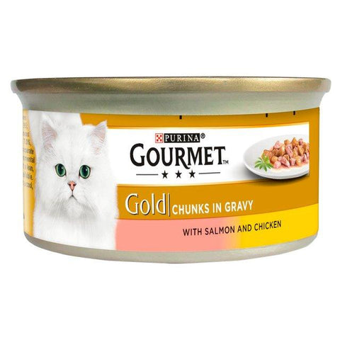 Gourmet Gold Pate Salmon & Chicken Chunks In Gravy 85g, cat wet food available at allaboutpets.pk in pakistan.
