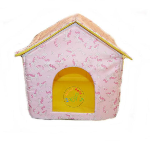 Image of Beautiful Soft Cat Houses With Colorful Prints